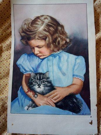 Pereira de Lima -Antiga aquarela: menina com gato