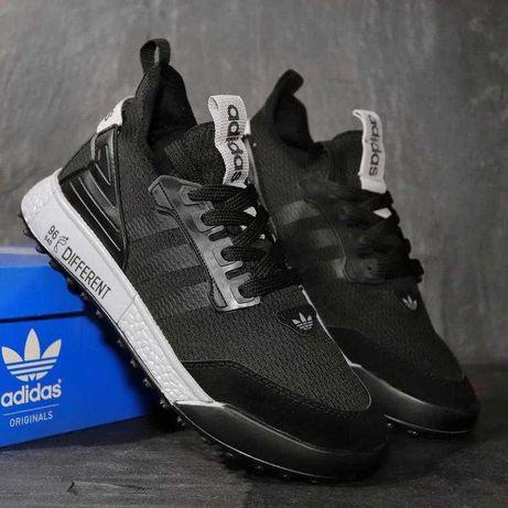 Кроссовки Adidas мужские, черные кроссовки с серой подошвой