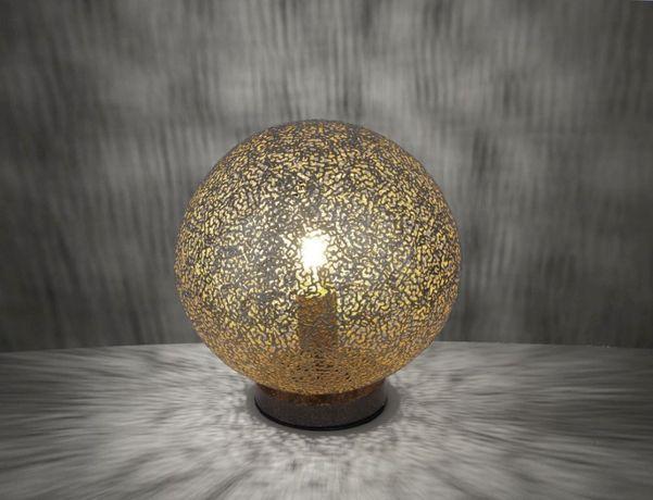 Stylowa elegancka lampka nocna złota/brązowa GRETA komodę stołowa