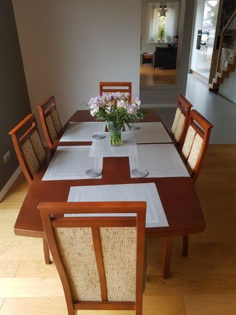 stół drewniany czereśnia + 6 krzeseł