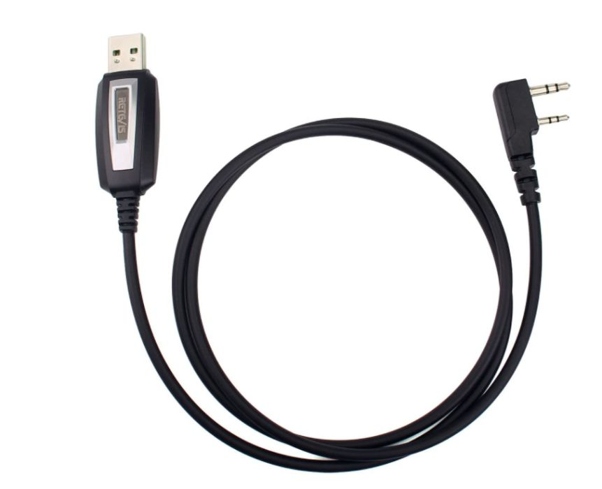 Cabo de programação USB de 2 pinos RETEVIS, BAOFENG, PUXING, é +