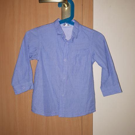 Błękitna koszula z długim rękawem rozmiar 92 jak nowa