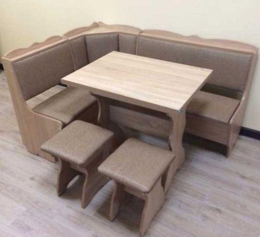 Мягкий кухонный уголок Лорд, раскладной стол, 2 табурета