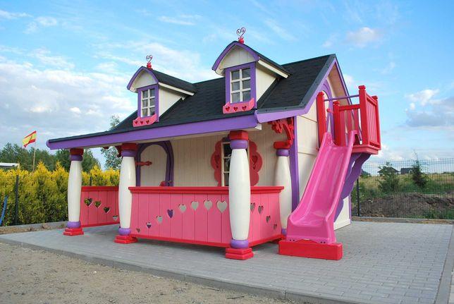 Drewniany Domek dla dziewczynek D02 ! Plac zabaw!