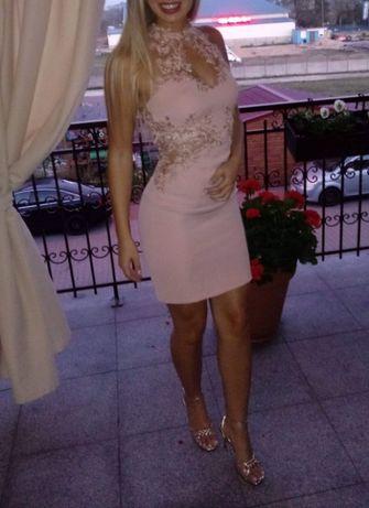Sukienka MINI pudrowy róż