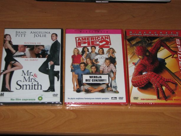 Spider mann, American Pie 2, Mr. &Mrs. Smih Filmy DVD.