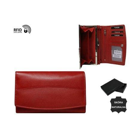 Portfel czerwony damski skóra naturalna nowy prezent nowość PO09