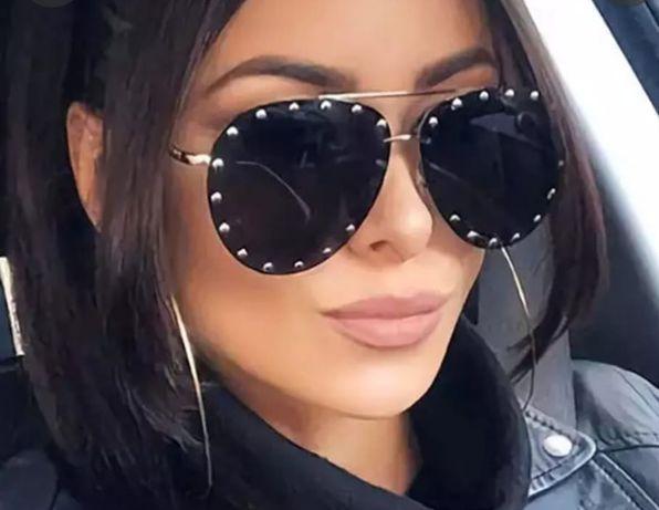 Czarne brązowe okulary przeciwsłoneczne nity