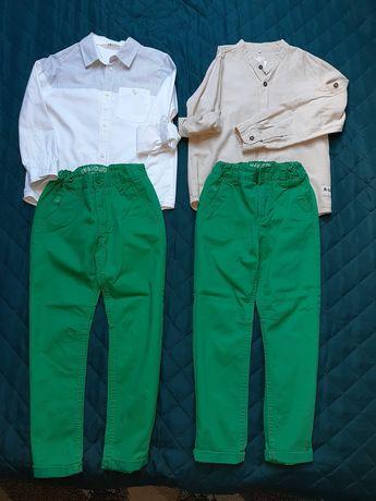Spodnie chinosy  122 i koszule h&m dla bliźniaków bliźnięta blizniaki