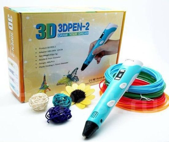 (ш) 3д pen2 3D ручка MyRiwell + набор ЭКОпластика PLA