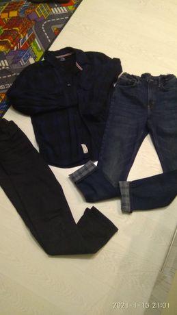 Термо джинсы НМ, рубашка байковая 11-13 лет мальчику