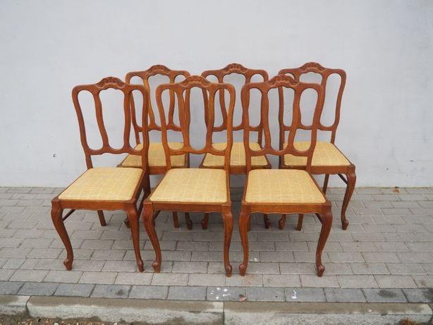 Rzeźbiony komplet 6 krzeseł ludwikowskich 041