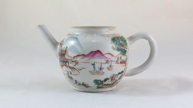 Bule de chá Companhia das Índias porto com figuras europeias