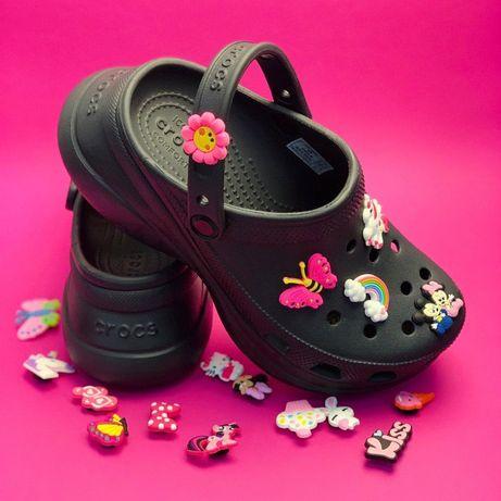 Женские сабо Crocs Classic Bae Clog Black на платформе