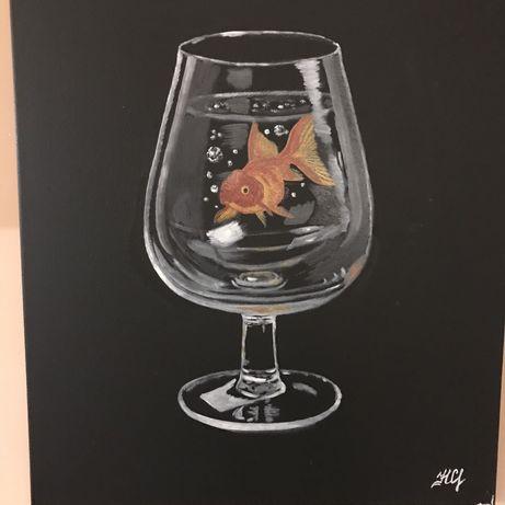 Картина маслом Аквариум бокал Золотая рыбка