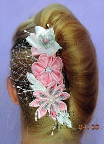 Ozdoba do włosów ślubna kwiat kanzashi grzebyk woalka