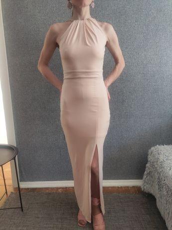 Женское платье в пол, вечернее платье длинное, бежево-розовый цвет.