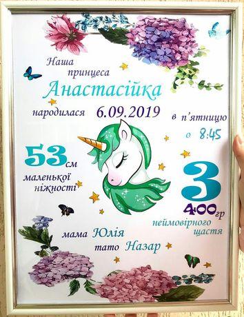 Метрика,постер,календар,УЗД, досягнення дитинки,правила сім'ї