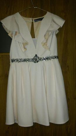 Sukienka unikat wesele chrzciny poprawiny falbanki pudrowy róż 40 M/L