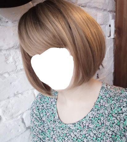 Peruka krótka bob ombre z grzywką brąz blond