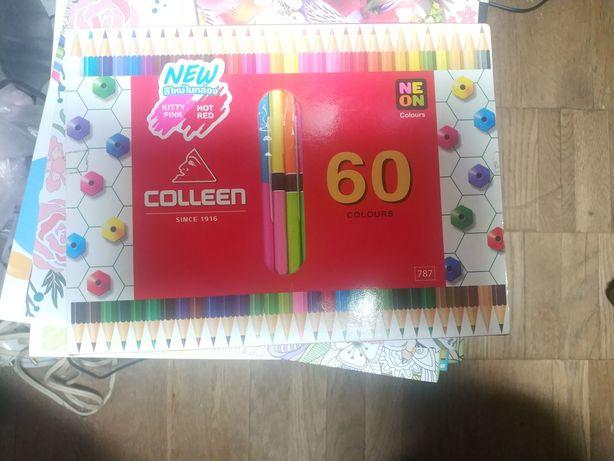 Карандаши Colleen Тайвань оригинал neon 60 цветов Мягкие новые подарок