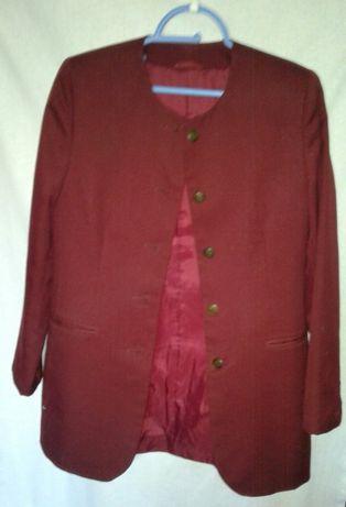 2 школьных пиджака вельвет и хлопок цвет зеленый хамелеон и бордо