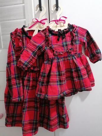 Sukienka w kratę świąteczna sesja święta takie same dla sióstr mega