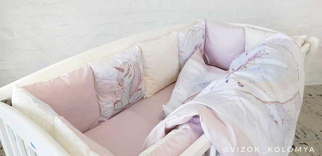 """Детский комплект """"Сказка""""(одеяло и подушка, постель, бортик) Единорог"""