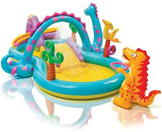 детский надувной центр бассейн с горкой Планета динозавров Intex 57135