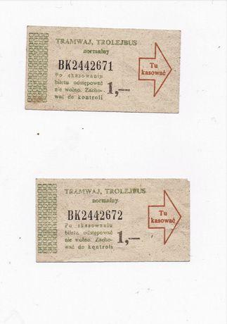 Dwa bilety z lat siedemdziesiątych tramwaj, trolejbus - kolekcjonerski