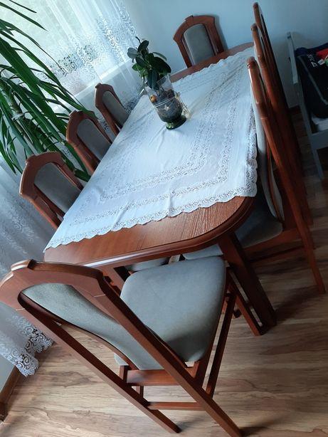 MEGA Zestaw duży stół 90 x 195-235cm rozkładany 8 krzesło