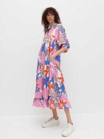 sukienka reserved oversize kwiaty lato wakacje długa luźna 34 xs m