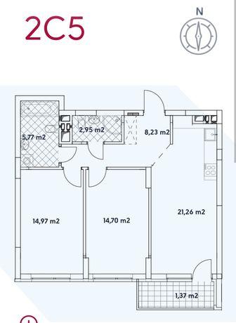 Варшавський - 2, 2- кімната квартира