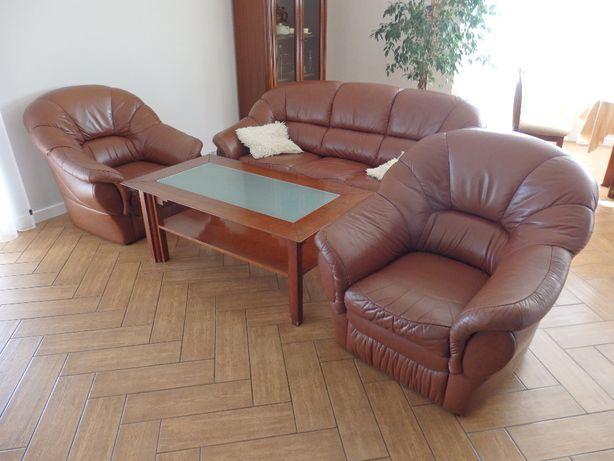 Komplet skórzany kanapa 3 osobowa z funkcją spania + 2 fotele