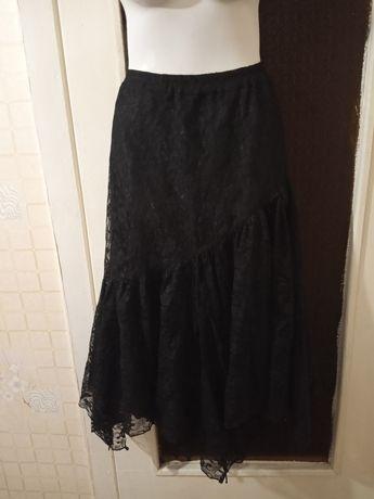 Черная гипюровая юбка миди размер 48-50