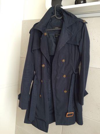 MANGO | płaszcz prochowiec granatowy niebieski