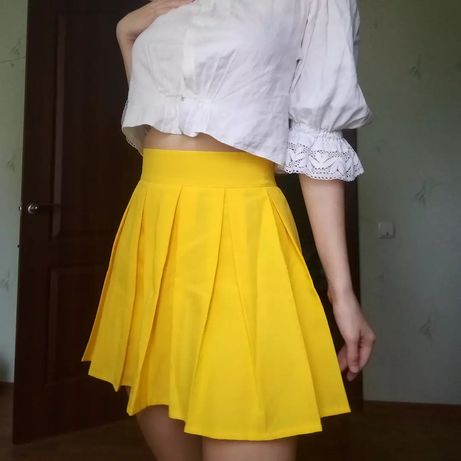 Теннисная юбка желтая