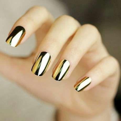 Samoprzylepne metaliczno-lustrzane naklejki na paznokcie złote i srebr