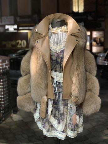 Куртка -косуха шкіряна комбінована хутром фінський песець