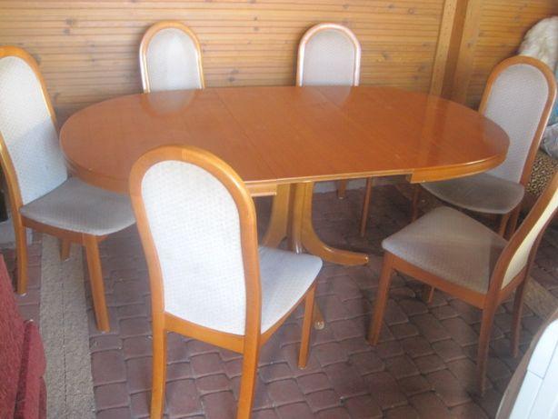 stół owalny rozsuwany + 6 krzeseł krzesła TRANSPORT MEBLI