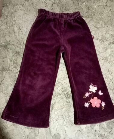 Spodnie welurowe fioletowe r. 92 cm dziewczęce