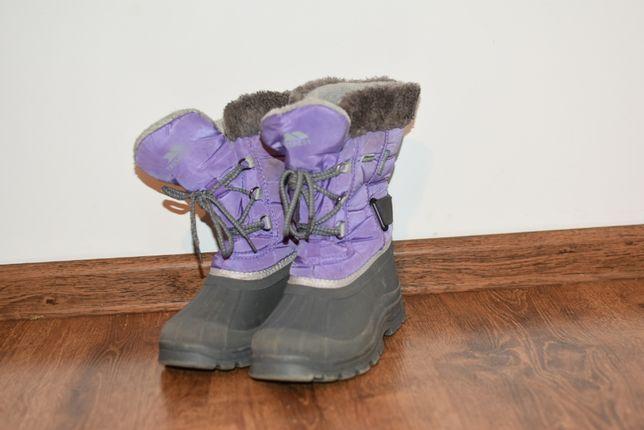 Śniegowce r.34 buty zimowe ocieplane fioletowe siwe