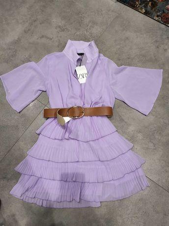 Zara nowa sukienka Lila #fiolet #liluowa #falbanki #szmizjerka #M