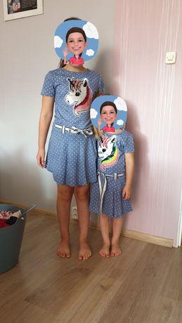 2 Sukienki  dla sióstr. Jednorożec