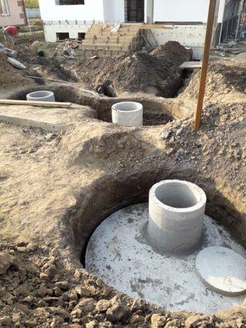 Жбк кільця.Викопать каналізацію,вигрібну яму,траншею. Проведення води.