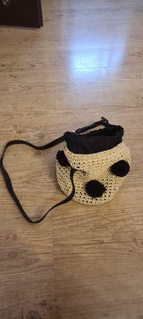 Koszyk-torebka-worek z pomponami