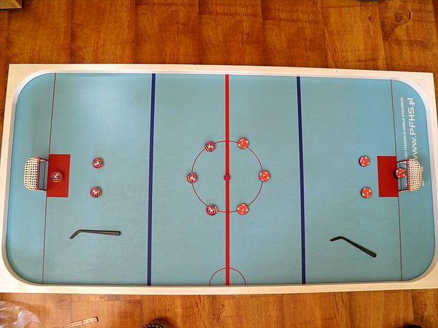 Hokej stołowy stół drewniany, krążki, hokejki, zawodnicy