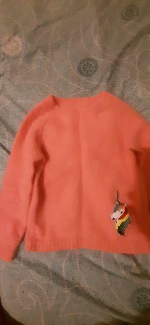 Теплый вязанный свитер пух норки
