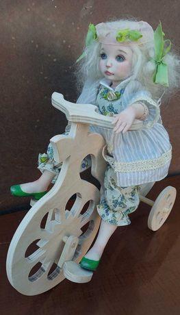 Деревянный кукольный велосипед