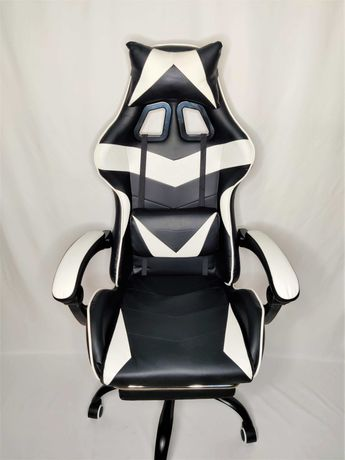 [NOVO] Cadeira Gaming Preta e Branca com Apoio para os Pés
